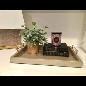 Gold Tone Faux Snakeskin Tray With Lucite …